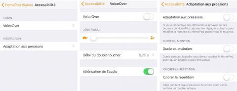 immagine della schermata di configurazione di Voiceover per HomePod