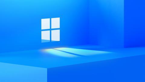 Logo di Microsoft Windows incastonato all'interno di una parete illuminata da luce
